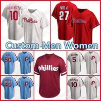 Personalizado 10 J.T. RealMuto Phillies 3 Bryce Jersey Harper Baseball Mike Schmidt Aaron Nola Rhys Hoskins Didi Gregorius McCutchen Mulheres Romanas