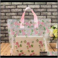 Clear Plastic Shopping Portatrice Borse con maniglia Regalo Boutique Packaging Floral Rose Stampato Grande Carino 5 Taglie LZ1177 BMZ5J QATD0