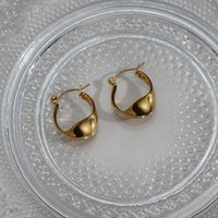 Hoop & Huggie Trendy Gift For Girl Special Design Stainless Steel Gold Plated Water Proof Tarnish Free Middle Size Hook Earrings Women