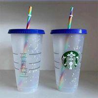 Starbucks Cups Tumblers Mugs 24oz 710ml Mermaid Goddess Plastic Tumbler Reusable Black Drinking Flat Bottom Pillar Shape Lid Straw Cup