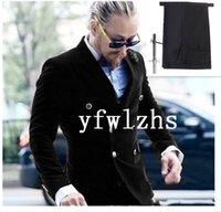 Handsome Velveteen Groomsmen Double-Breasted Groom Tuxedos Men Suits Wedding Prom Man Blazer ( Jacket+Pantst+Tie) Y330
