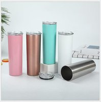 DIY 20oz Sublimation Straight Skinny Tumbler Stainless steel blank white skinny cup with lid straw Cylinder water bottle coffee mug