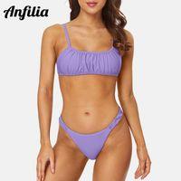 Anfilia Womens 2 Peça Swimsuit Cami Bikini Top Thong Bottom Quadrado Pescoço Alto Corte Ternos de Banho Solid Swimwear Mulheres