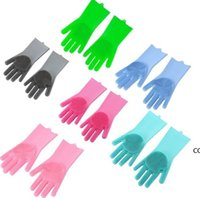 HOT Kitchen Silicone Cleaning Gloves Magic Silicone Dish Washing Gloves For Household Silicone Scrubber Rubber Dishwashing Gloves DHA8462