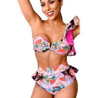 Qinjoyer Yüksek Bel Bir Omuz 2 Parça Mayo 2021 Bikini Fırfır Mayo Üçgen Mayo Kadınlar