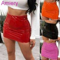 Women PU Miniskirts Sexy Bright Leather Bag Hip Short Skirt Spring And Autumn New Fashion 2021 XS-XL