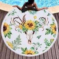 Tournéflower imprimé serviette de plage rond coussin de piscine châle canapé couvercle couverture microfibre bain de camps de pique-nique en plein air