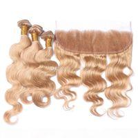 Honig blonde Körperwelle Wellenförmige Haarbündel mit Spitze Frontal Reine Farbe 27 Ohr zu Ohr Frontal mit Körperwellenhaarverlängerung