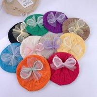 Girls Caps Kids Hats Baby Hat Autumn Winter Knitted Wool Cute Beret Crochet Beanie Cap Lace Bow Children Accessories B7516