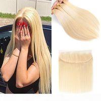 Paquetes de pelo virgen brasileño con cierre 613 rubio sedoso cabello humano húmedo 3 paquetes con 13 * 4 cordones frontal de lace oreja a oreja