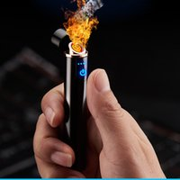 Wholesale Mini LED USB Lighters Finger Touch Induction Electric Cigarettes Lighter Thin Windproof Metal Rechargeable Gadgets for Men