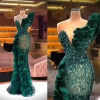 Lüks Abiye Moda Tasarım Yan Bölünmüş Ruffles Tül Mermaid Balo Elbise Glitter Sequins Boncuk Custom Made Chic Örgün Parti Abiye