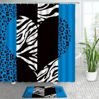 Shower Curtains Blue Leopard Curtain Bath Mats Set Black White Heart Pattern Home Door Pad Flannel Non-slip Rug Floor Mat Bathroom Decors