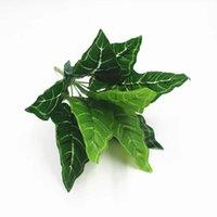 Flores decorativas guirnaldas 9 cabezas plantas artificiales hojas hojas de hoja perenne de hoja de boda pared verde accesorios de planta decoración del hogar