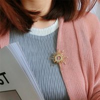 Pins, Brooches Sun Shaped For Women Femme Scarf Clip Pins Cool Weeding Coat Cardigan Fine Broche Hijab Buckles Corsage
