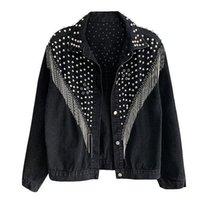 Women's Jackets Korean Clothes Fashion Streetwear Rivet Tassels Denim Jacket Women Coat Lady 2021 Spring Autumn Cowboy Outerwear Tops