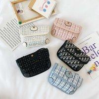 Designer kids letter purse girls sequins plaid messenger bags children cartoon tiger single shoulder bag luxury women mini purses Q2704
