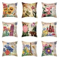 Cushion Decorative Pillow 45*45 Retro Flower Cushion Cover Castle Decorations For Home Throw Pillows Sofa Decor Decorative Pillowcase