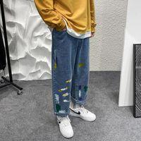 Men's Jeans Men Graffiti Straight Jean Pants Blue Denim Man Casual Baggy Neutral Ankle-length And Women's