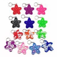 Decompression fidget toy Keys Ring Pendant Five-pointed star shaped finger bubble music Silicone Push Toys Key Chain Kids Adults Simple Dimple Fingers Colorful