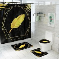 Polyester Shower Curtain With Bath Mat Bathroom Carpet Rug Non Slip U-Shaped Toilet Room Decor Absorbent Floor Mats