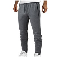 Men's Pants Fitness Joggers Sports Solid Cotton Casual Zipper Pocket Mid-waist Workout Sweatpants Drawstring