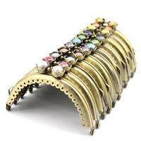 Tas onderdelen accessoires 8,5 cm lotus hoofd kralen antiek brons glanzend metalen portemonnee frame handvat voor koppeling handtas maken kus sluitingslot