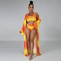 Designer Swimwear Bikini Für Frau Sleeveless Slim Hohe Taille 3 STÜCKE Womens Sets Lässig Gedruckt Sommer Strand Badeanzüge