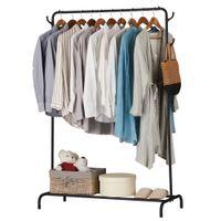 Ropa negra Retal de ropa de ropa pesada de ropa de calificación comercial con gancho de barra superior y estante de almacenamiento inferior
