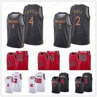 DEMAR 10 DEROZAN Alex 4 Caruso 2 Lonzo Ball Basketball Jersey 2021 Comercio Edición auténtica Ciudad City Jerseys Blanco Rojo Negro