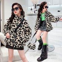 Big Girls leopard grain fleece coat kids plush long sleeve zipper coats fall winter children thicken warm outwear fit 3-15 years Q2830