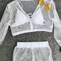 4 pezzi Costume da bagno Costume da bagno Micro Bikini da donna 2020 Copertura da spiaggia per la spiaggia Fishnet See through Mesh Crop Top Long Pantaloni Brasiliani Swimwear solido brasiliano