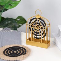 Fragrance Lamps Creative Mosquito Coil Holder Nordic Style Birdcage Shape Summer Day Iron Repellent Incenses Rack Plate Home Decoration