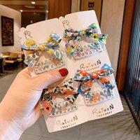 Аксессуары для волос Корейский стиль Девушка Свежая ткань Цветочный Распечатать Bow Hairpin Кружева Квадрат BB Clip Baby Для Детской Мода