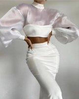 Jupe Femmes Luxe Sexy Sleeve Mesh White Maxi Long Bandage de deux pièces 2021 Celebrity Designer Fashion Winter Women's Set