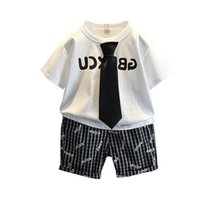 Boys Clothing Sets Boy Suits Kids Outfits Child Clothes Summer Cotton Short Sleeve Necktie T-shirts Shorts Pants Casual 2Pcs 2-8Y B5181
