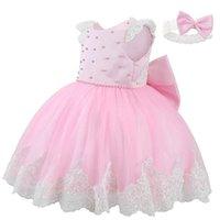 Girls Dresses 1st Birthday Dress For Baby Girl Clothes Kids Skirt Children Princess Pearl Headbands 2Pcs Evening Formal B8112
