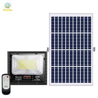 태양 전지 패널 홍수 빛 100W 200W 300W 투광 조명 램프 IP67 방수 알루미늄 태양 전원 옥외 가로등 원격 및 5m 케이블