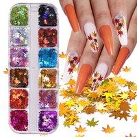 Fall Maple Leaf Thanksgiving Nails Stickers Glitter Decals Autumn Holographic Sequins Flakes Foils Fingernail Art Decorations Manicure