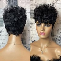 Short Loose Curly Human Hair Wigs Natural Black Color Brazilian Remy Full None Lace Front Wig With Bangs For Women