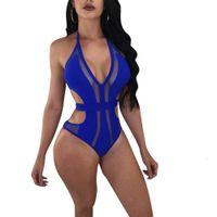 Playsuits النساء قطعة واحدة بيكيني الصيف الجوف خارج مصمم البيكينيات الرسن مثير ملابس السباحة
