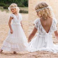 Vestidos de niña de flor bohemia blanca 2019 V cuello de cordón niños ropa formal ropa de chicas Paguent vestidos de niña sin espalda niña