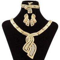 Orecchini Collana Moda Africana Dubai Gioielli in oro Nigerian Crystal Hoop Donna Italian Bridal Set Accessori da sposa