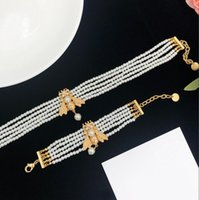 Famous Luxury Designer Bib Choker Statement Necklace Pearl Chain Bees Charm Necklaces Fashion Brand Bracelet Bangle For Women Lady Wedding Party Jewelry With Box