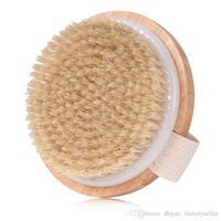 Round Natural Boar Bristles Massage Brush Cellulite Circulation SPA Massage Bamboo Handle Shower Body Brush Back Massage