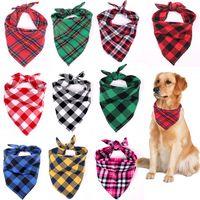 Bandana Dog Apparel Christmas Plaid Single Layer Pet Scarf Triangle Bibs Kerchief Accessories for Small Medium Large Dogs Xmas Gifts