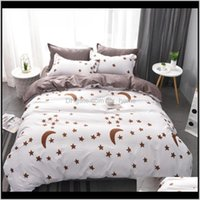 Sets Supplies Textiles Home & Garden Bed Linen Moon Stars Luxury Bedding Set Twin Full Queen King Super King Size 3 4Pcs Duvet Er Drop Delive