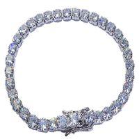 Platino plateado 925 Sterling Sier creado Moissanite Gemstone Diamond Tennis Pulsera para las mujeres Boda Boda Joyería al por mayor