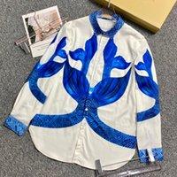 2021 Outono Itália Vintage Peixe Escala Camisa Europa América Homens Mulheres Manga Longa Casual Elegante Streetwear