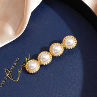2021 new ins net red hairpin fashion simple temperament pearl hair accessories word clip small jewelry